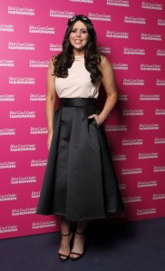Rebecca McKinney looked fantastic in her A-line skirt at the AW14 Launch
